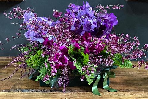 Arranjo de Orquideas em tons de pink e roxo