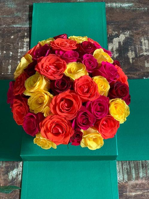 Cake Flower com Rosas Coloridas