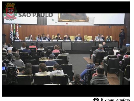 Foto do alto do auditório da câmara municipal da cidade de São Paulo