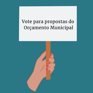 """Um desenho de uma mão de unhas coloridas de vermelho e na placa está escrito """"Vote para propostas do Orçamento Municipal"""""""