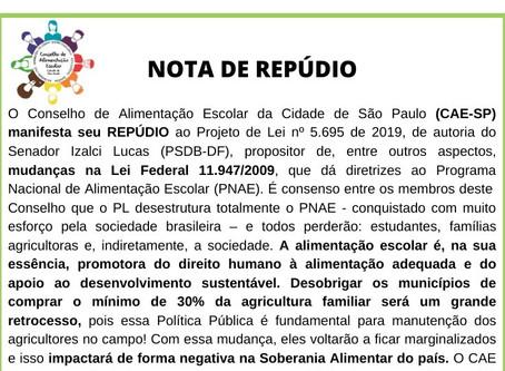 Conselho de Alimentação Escolar diz Não ao PL 5695/2019