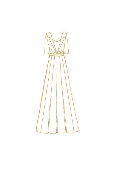 Ivory Viscose & Autumn Colour Polyester Wedding Dress