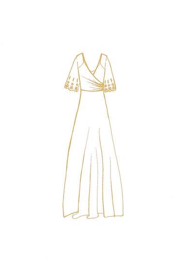 Ivory Viscose &Silk Nature Wedding Dress