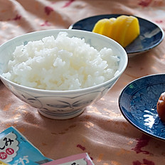 Japanese White rice with Takuan, or Ume