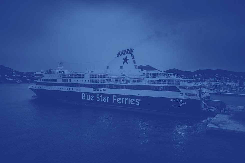Blue Star Ship at the port of Patmos