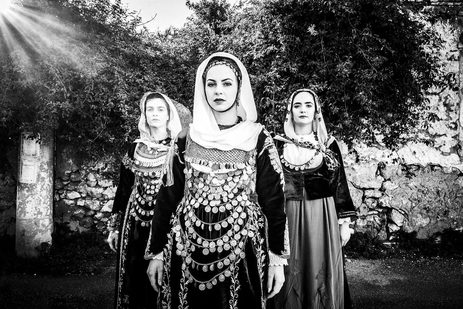 Three ladies in Salamina, Saronic gulf, Attica, Greece