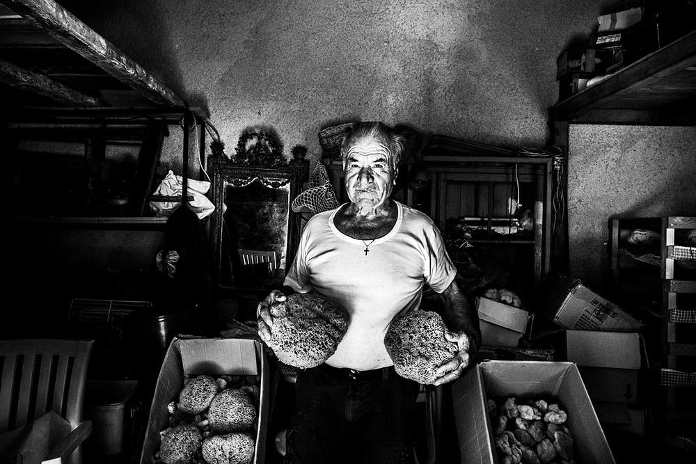 Antonis Kampourakis at his warehouse. Greece. South Aegean. Kalymnos. © George Tatakis
