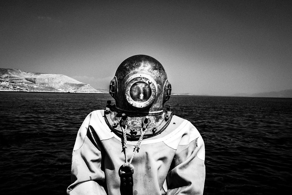 Dimitris in his diving suit Greece. South Aegean. Kalymnos. © George Tatakis
