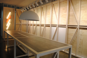 architectural designed disply frames and desk for shop fitout