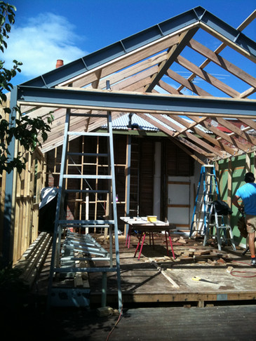 framework for new living and kitchen area