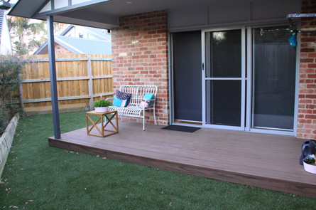Sustainable and environmentally friendly modwood decking in alfresco area.