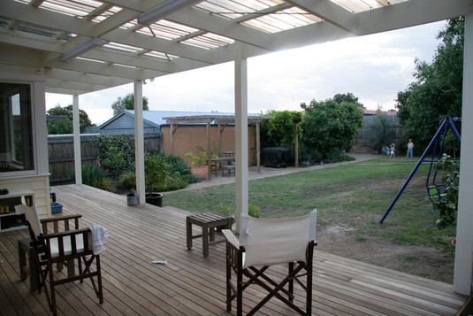covered spotted gum deck area
