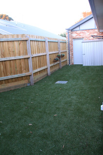 Low maintance synthetic lawn.