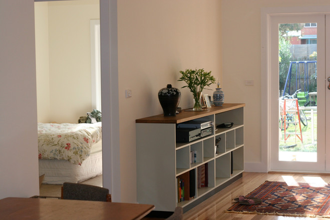 timber top to bookcase unit
