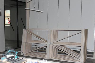 white washed timber display frames