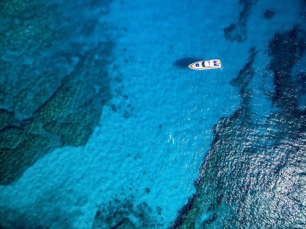 Aerial view of tropical island beach hol
