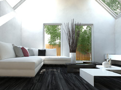 Modern black and white design style living room interior with nice furniture