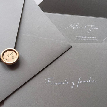 Convite de Casamento com lacre de cera