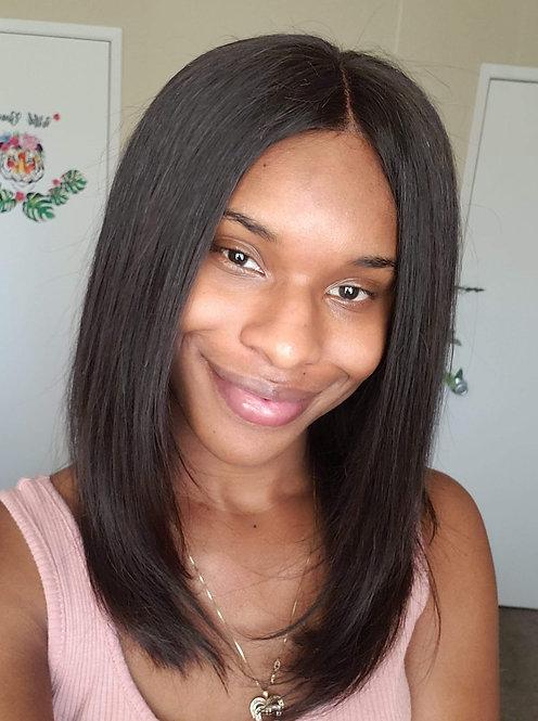 Aniya:  100% Human hair Burmese Straight Texture Lace Front Wig in natural black