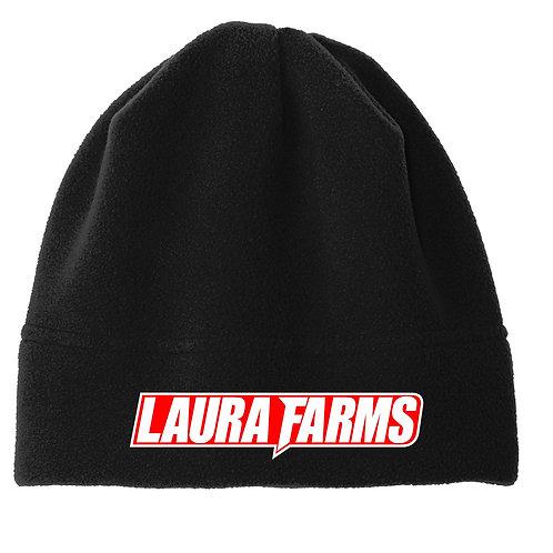 Laura Farms - Fleece Beanie (Black/White/Red)