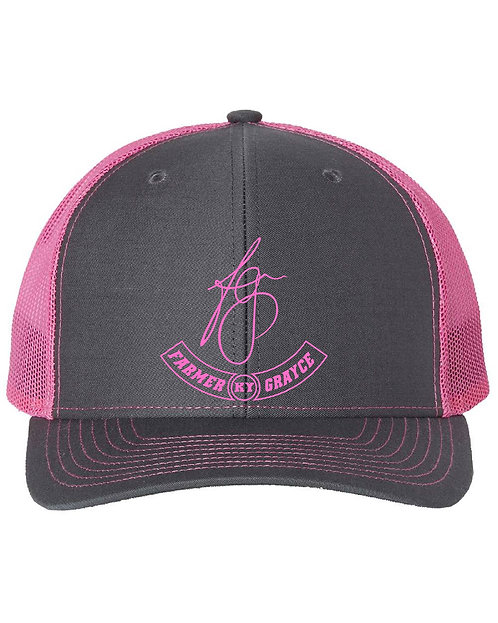 Farmer Grayce - Richardson Snapback Trucker Cap (Charcoal/Neon Pink)