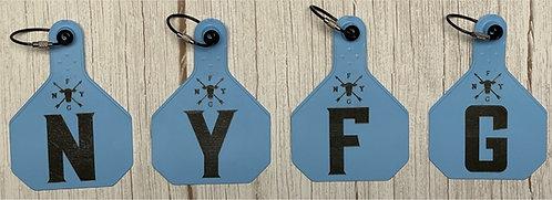 NYFG - Cow Tag Key Chain - Light Blue