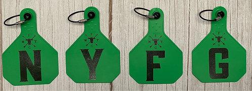 NYFG - Cow Tag Key Chain - Green