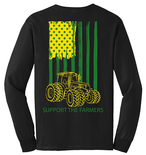 Laura Farms - Support The Farmers - Long-Sleeve Tee (Green/Yellow)