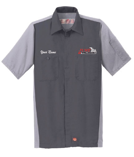 JustTruckin - Short-Sleeve Crew Shirt (Charcoal) - Personalized