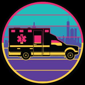 """Popo Medic - """"Retro Ride"""" Sticker"""