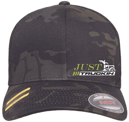 JustTruckin - Flexfit Trucker Hat (Multicam Black/Black)