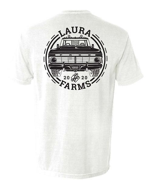 Laura Farms - Adult Pocket Tee - Old Truck (White)
