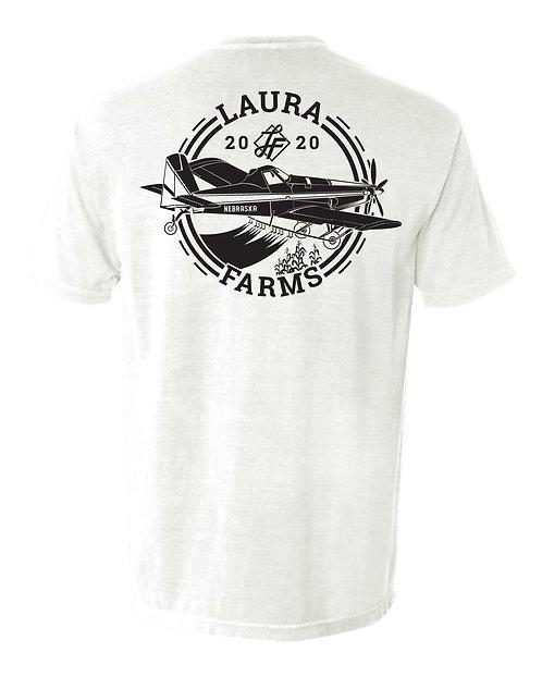 Laura Farms - Adult Pocket Tee - Plane Design (White)