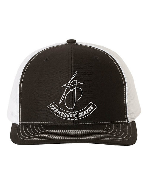 Farmer Grayce - Richardson Snapback Trucker Cap (Black/White)