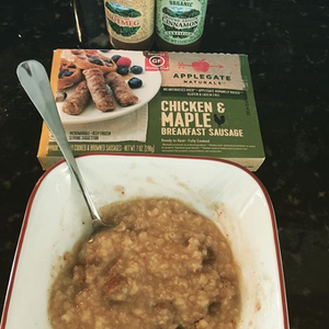 Congee with breakfast sausage. PC @newdirectiondoc (instagram)