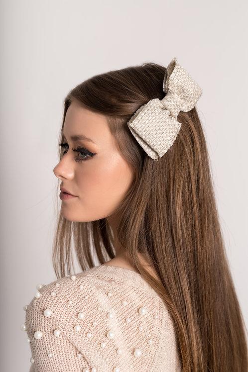 Laço de cabelo Beatriz em tweed off-white