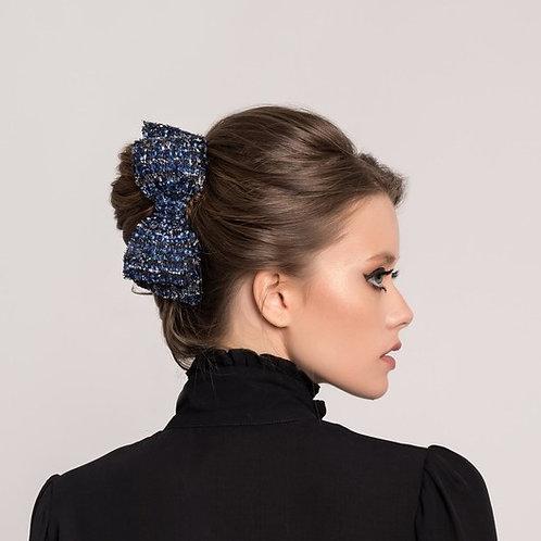 Laço de cabelo Ísis em tecido tweed preto, azul e prata.
