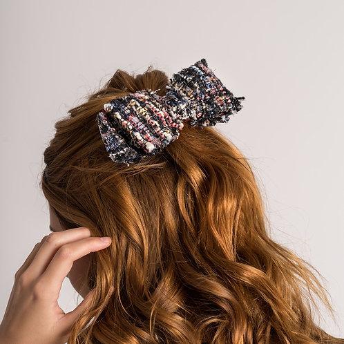 Laço de cabelo Luma em tecido tweed multicolorido