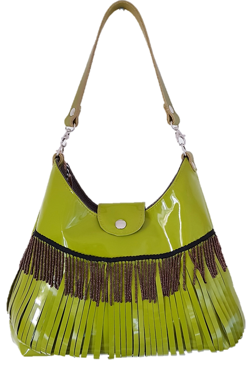 LES FRANGES - HOBO BAG MIDI  - Green genuine leather