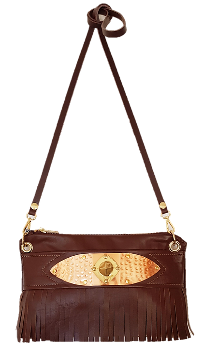 COLLECTION LES FRANGES - MINI BAG - Marron - Cuir véritable