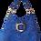 Thumbnail: HOBO BAG MIDI Bleu fantaisie - cuir véritable