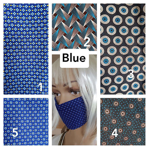 Masque-barrière à plis ShweShwe print 100% coton - blue