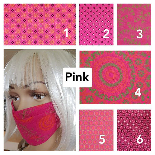 Masque-barrière à plis ShweShwe print 100% coton - pink