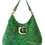 Thumbnail: HOBO BAG MIDI Vert fantaisie - cuir véritable