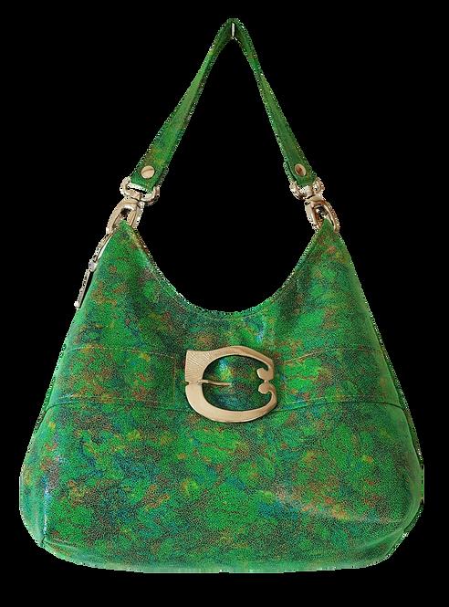HOBO BAG MIDI - Green print - Genuine leather