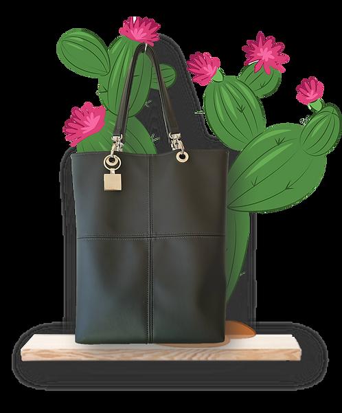 TOTE bag - Black Cactus leather - Vegan leather