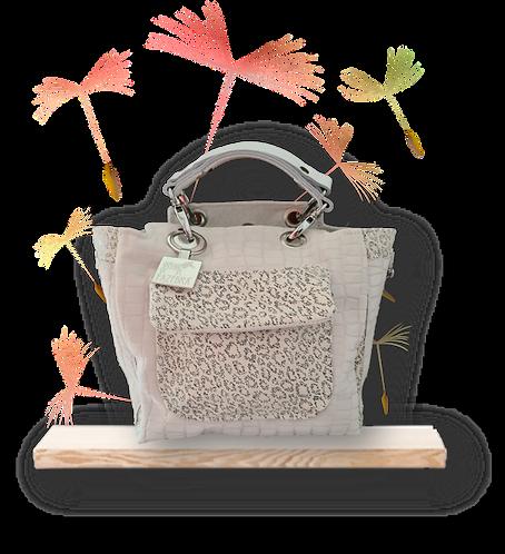 Mini Tote Bag - White embossed / animal print leather - Genuine leather