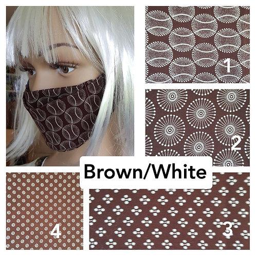 Masque-barrière à plis ShweShwe print 100% coton -brown/white