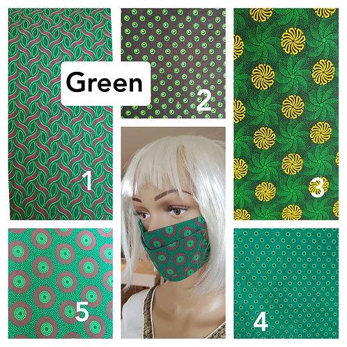 Masque-barrière à plis ShweShwe print 100% coton - green