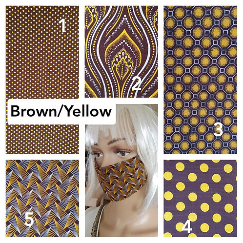 Masque-barrière à plis ShweShwe print 100% coton - brown/yellow